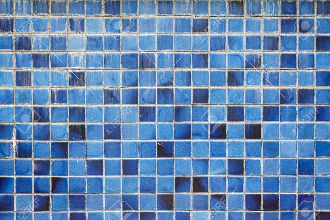 Blue Ceramic Wall Tiles And Details Of Surface Stock Photo, Picture ...
