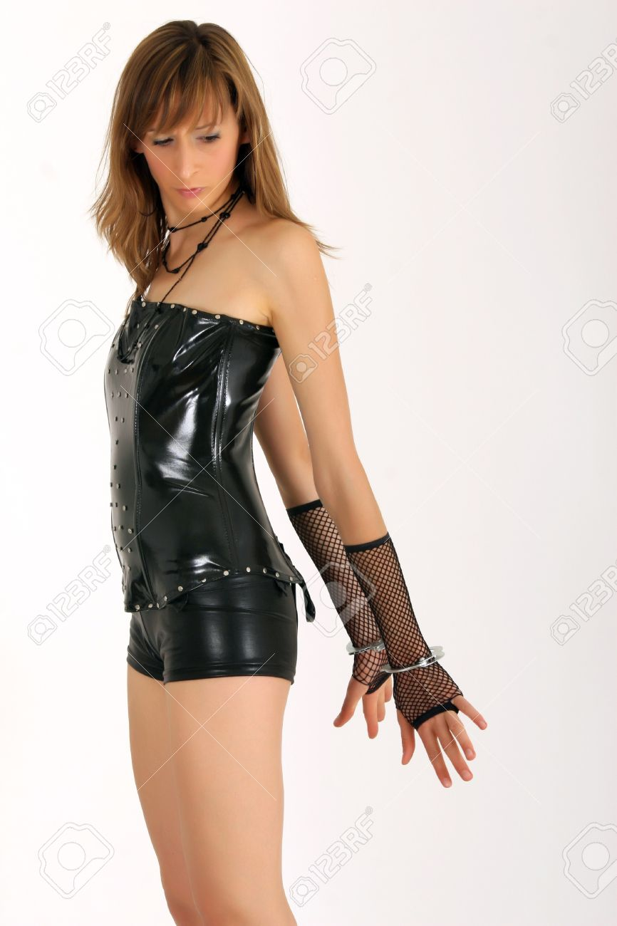 woman with handcuff in patent leather look Stock Photo - 4218171