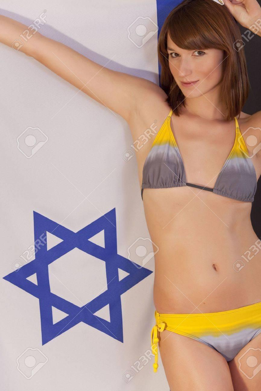 részletes képek online áruház különböző tervezés Beautiful Woman In Bikini Holding Israel Flag Stock Photo, Picture ...