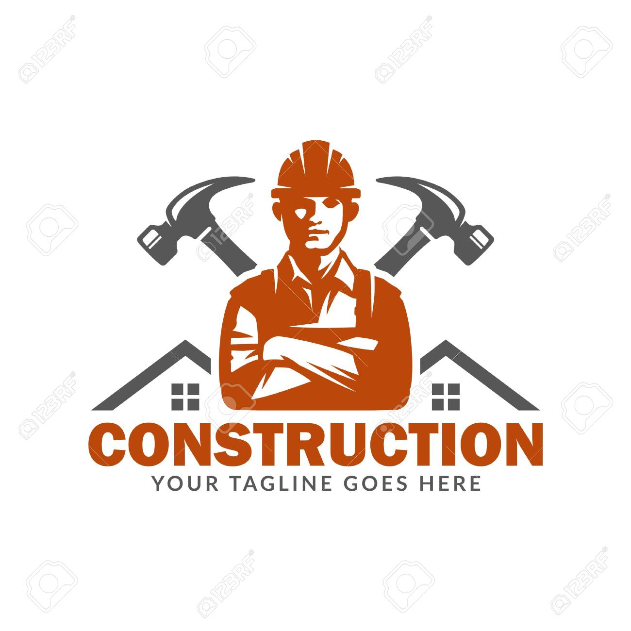 Construction logo template, suitable for construction company brand, vector format and easy to edit - 129794569