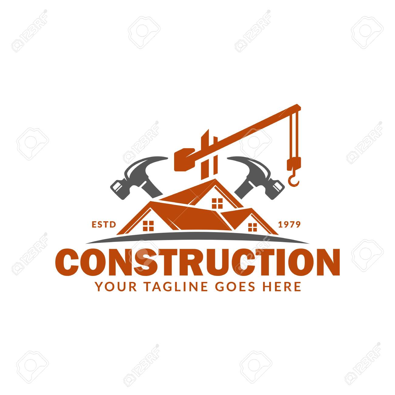Construction logo template, suitable for construction company brand, vector format and easy to edit - 129794574