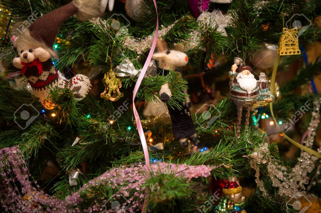 Decorations And Multi Colored Lights On The Christmas Tree Stock Photo Picture And Royalty Free Image Image 34961023