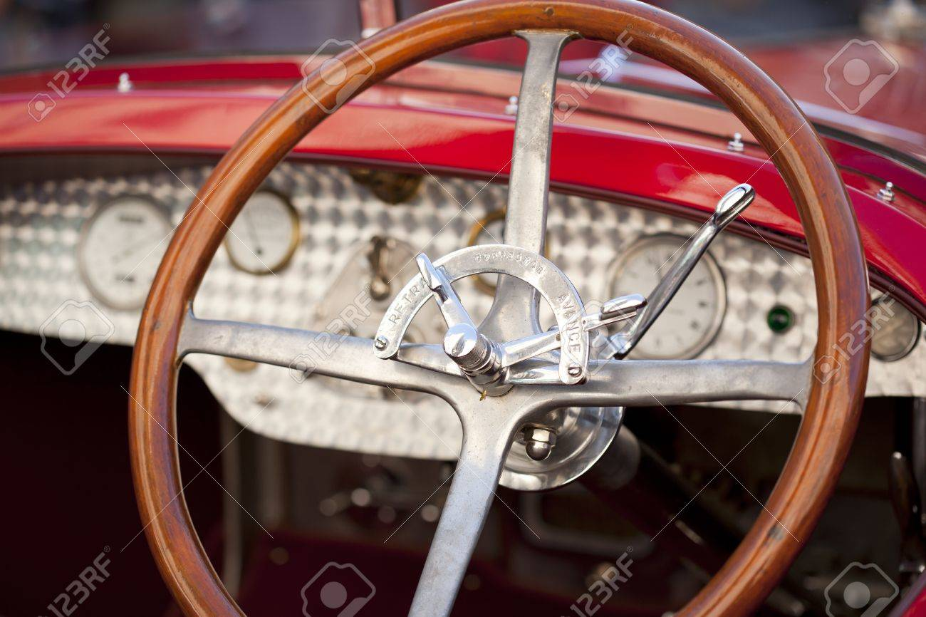 Wood Steering Wheel Belonging To A Vintage Car Stock Photo Picture