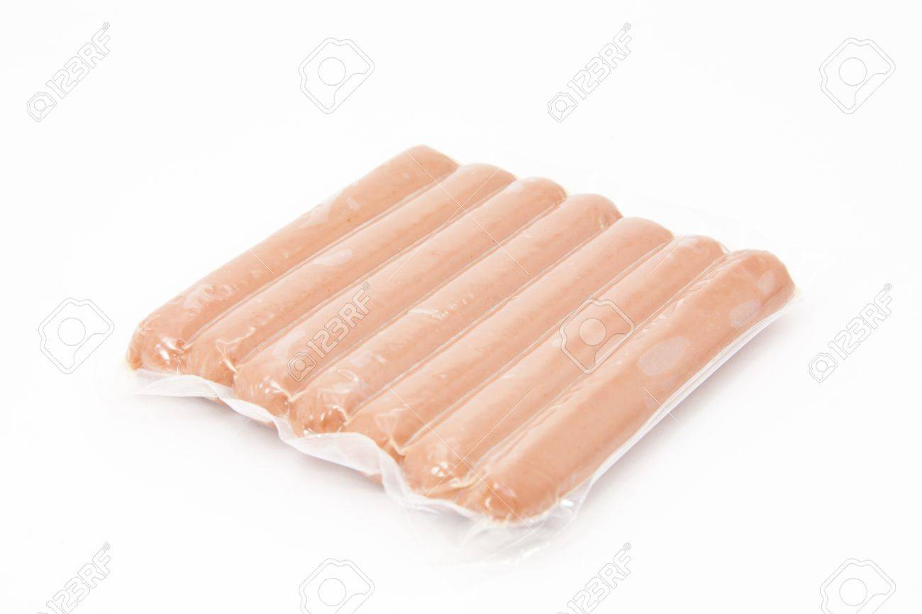Package vacuum packed frankfurters with white background Stock Photo - 12860618