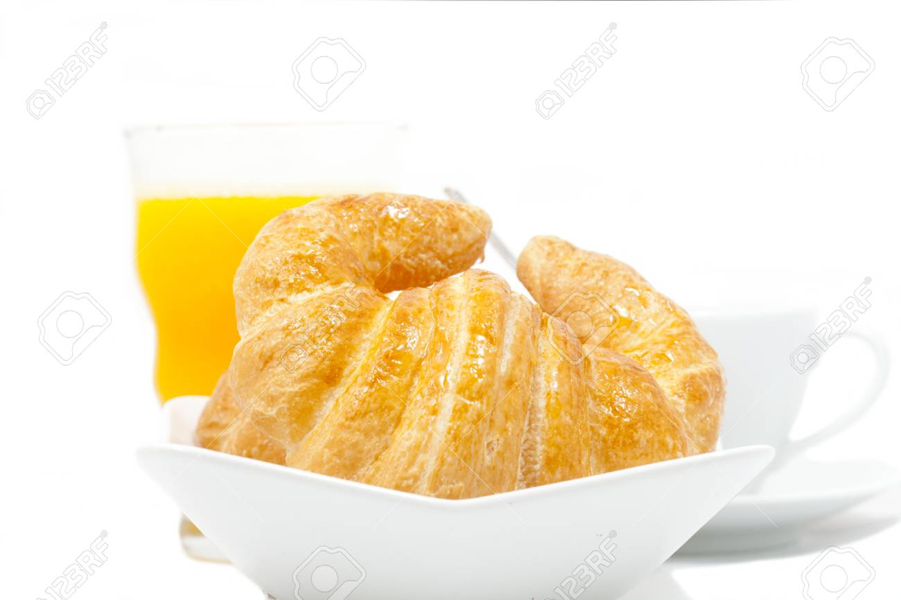 Breakfast of croissant and latte natural juice Stock Photo - 17183456