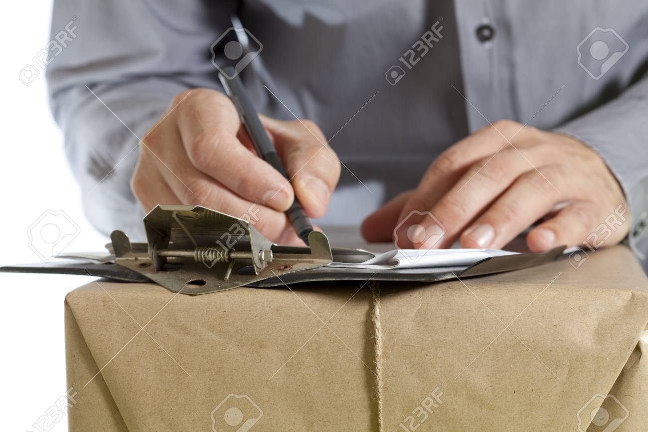 Messenger with your notebook to deliver a package Stock Photo - 17603006