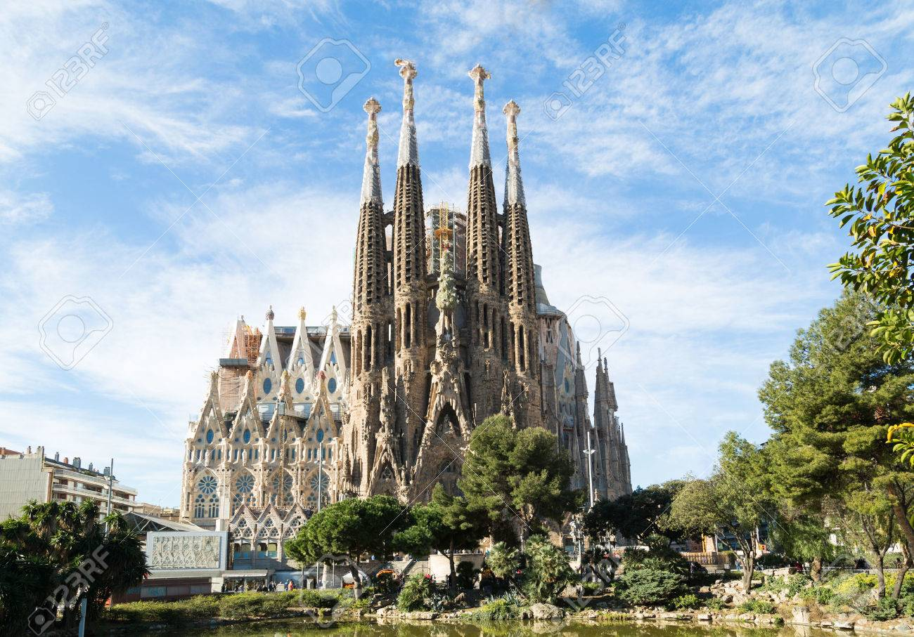 BARCELONA, SPAIN -MARCH 06: Sagrada Familia on MARCH 06, 2015: La Sagrada Familia - the impressive cathedral designed by architect Gaudi, which is being build since March 19, 1882 and is not finished. - 38599683