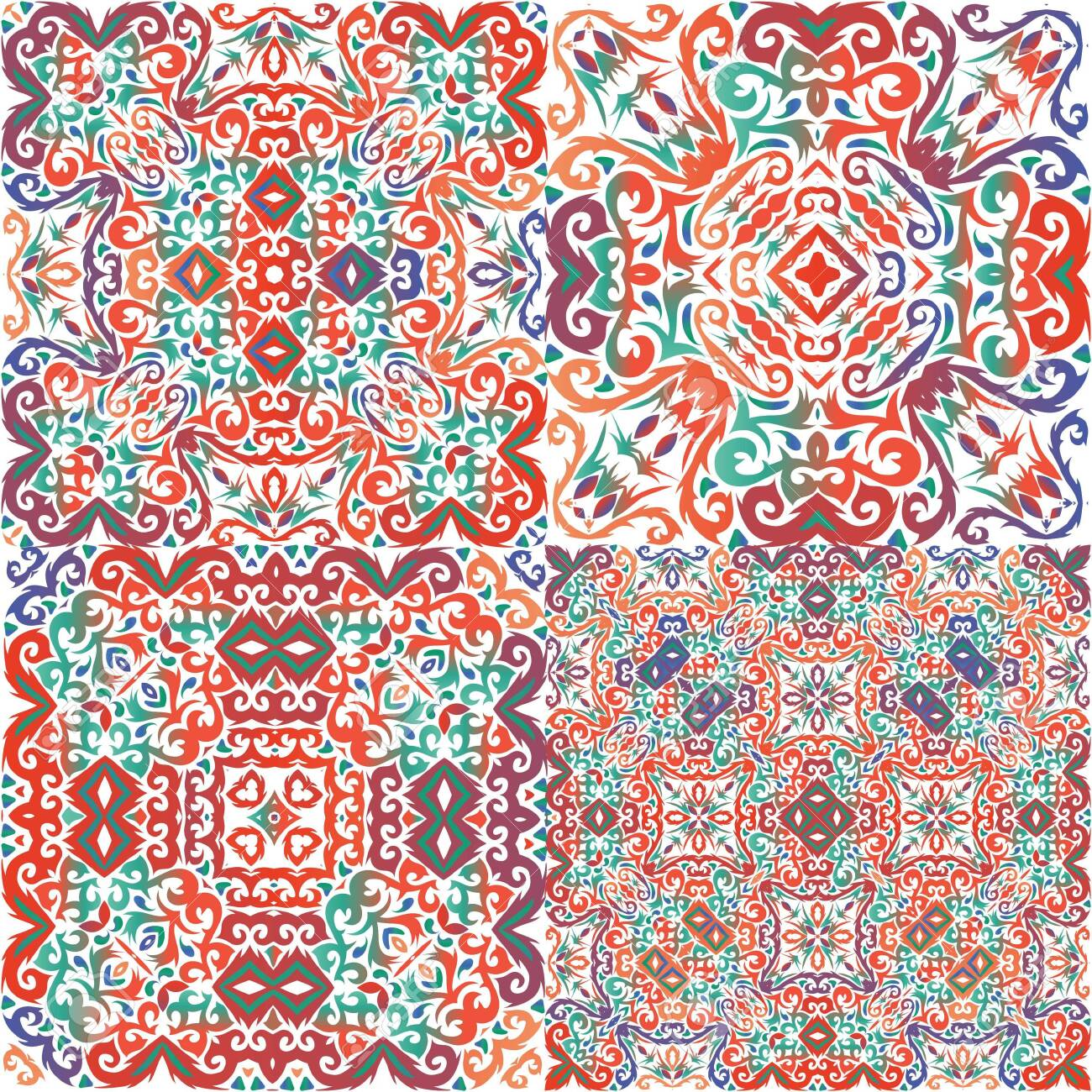 Ornamental talavera mexico tiles decor. Collection of vector seamless patterns. Kitchen design. Red gorgeous flower folk prints for linens, smartphone cases, scrapbooking, bags or T-shirts. - 140243453