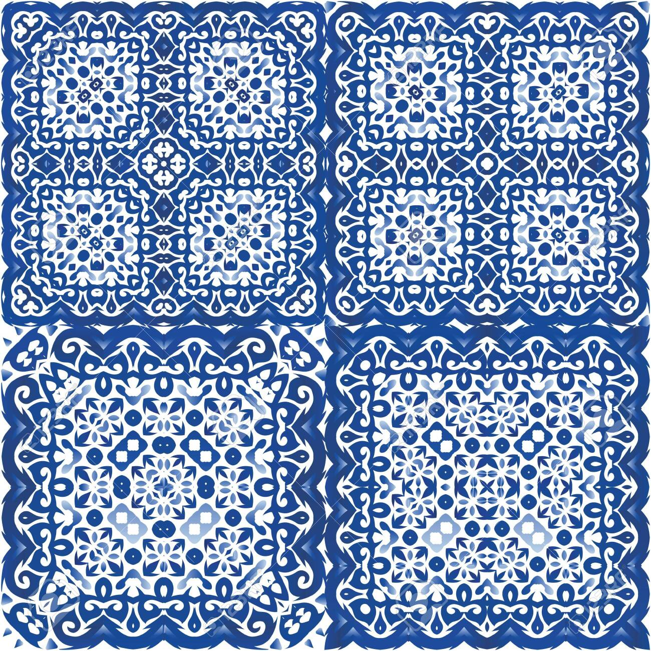 Ceramic tiles azulejo portugal. Set of vector seamless patterns. Colored design. Blue ethnic backgrounds for T-shirts, scrapbooking, linens, smartphone cases or bags. - 140760721