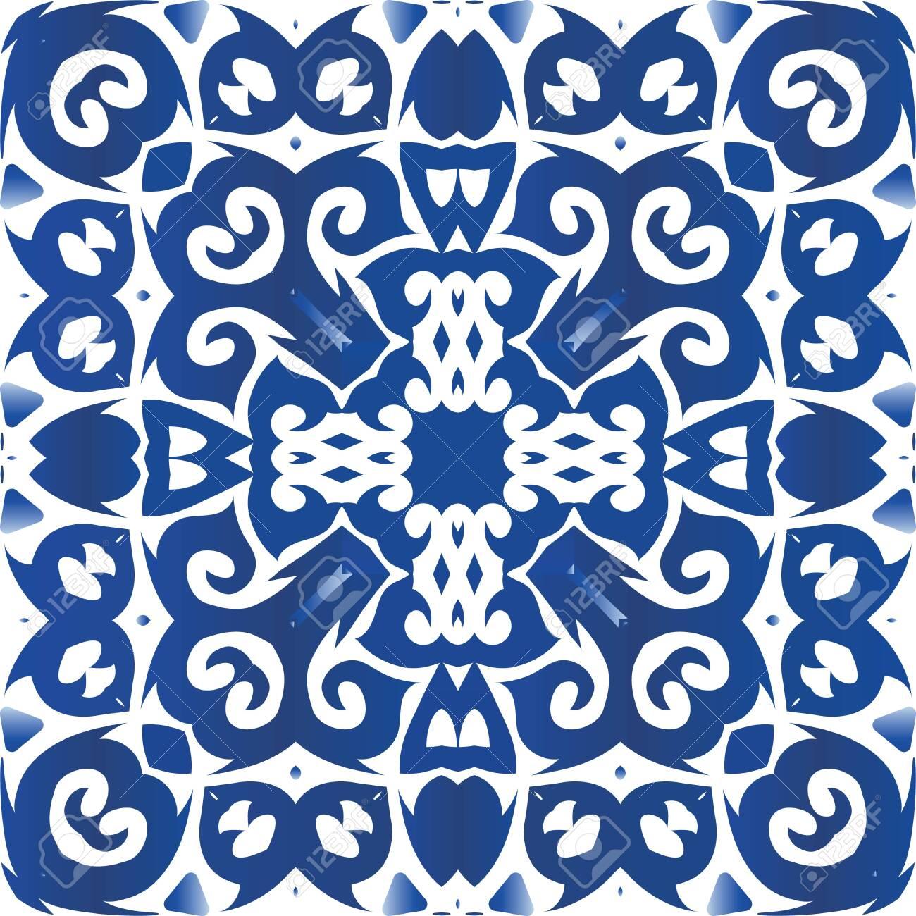 Portuguese vintage azulejo tiles. Vector seamless pattern theme. Stylish design. Blue antique background for pillows, print, wallpaper, web backdrop, towels, surface texture. - 145816983