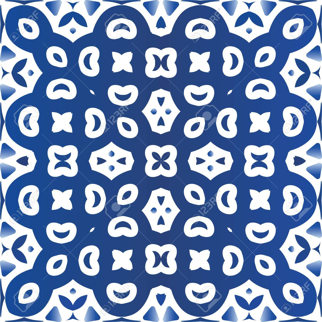 Decorative color ceramic azulejo tiles. Vector seamless pattern template. Fashionable design. Blue folk ethnic ornament for print, web background, surface texture, towels, pillows, wallpaper. - 145851047