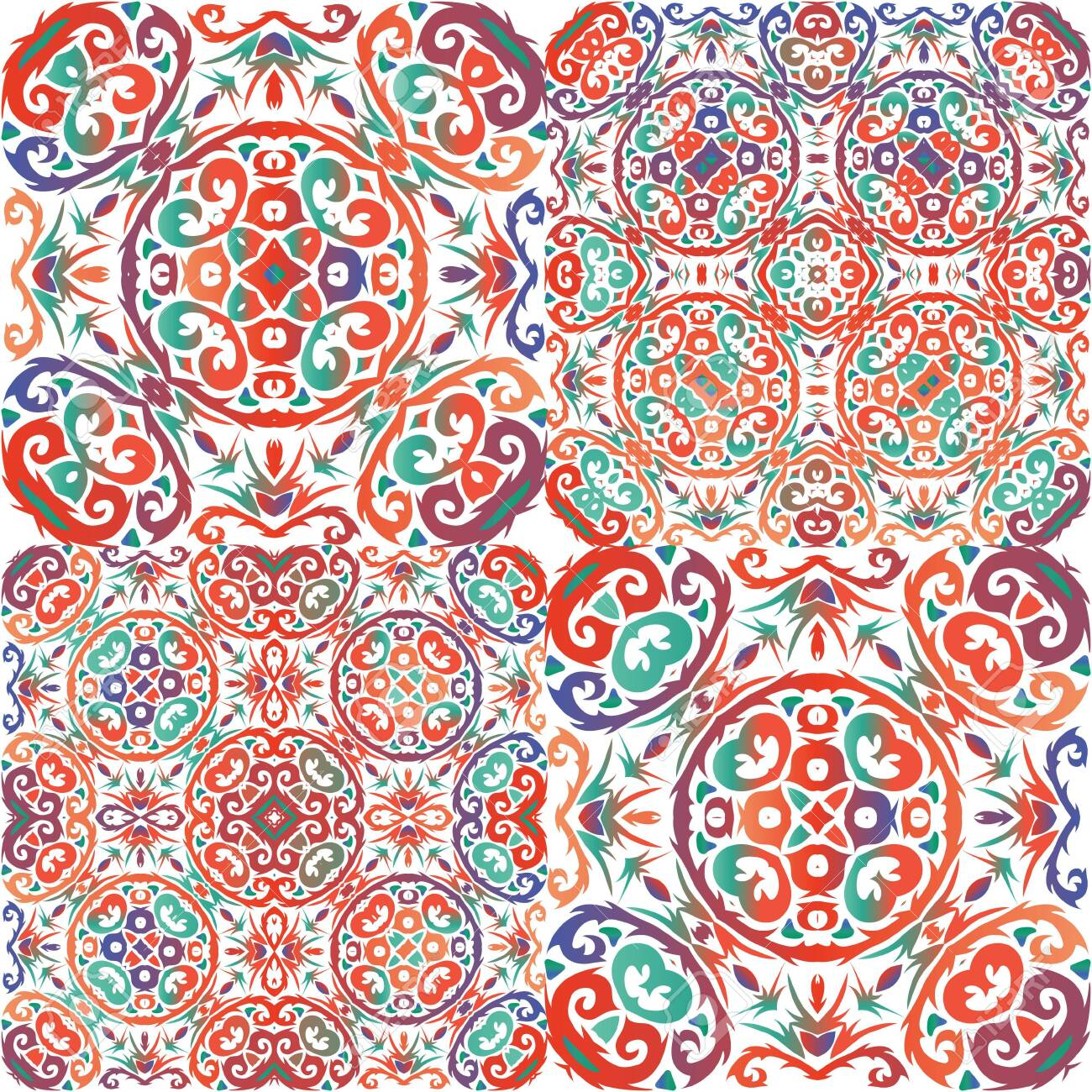 Antique talavera tiles patchworks. Set of vector seamless patterns. Original design. Red mexican ornamental decor for bags, smartphone cases, T-shirts, linens or scrapbooking. - 146560564