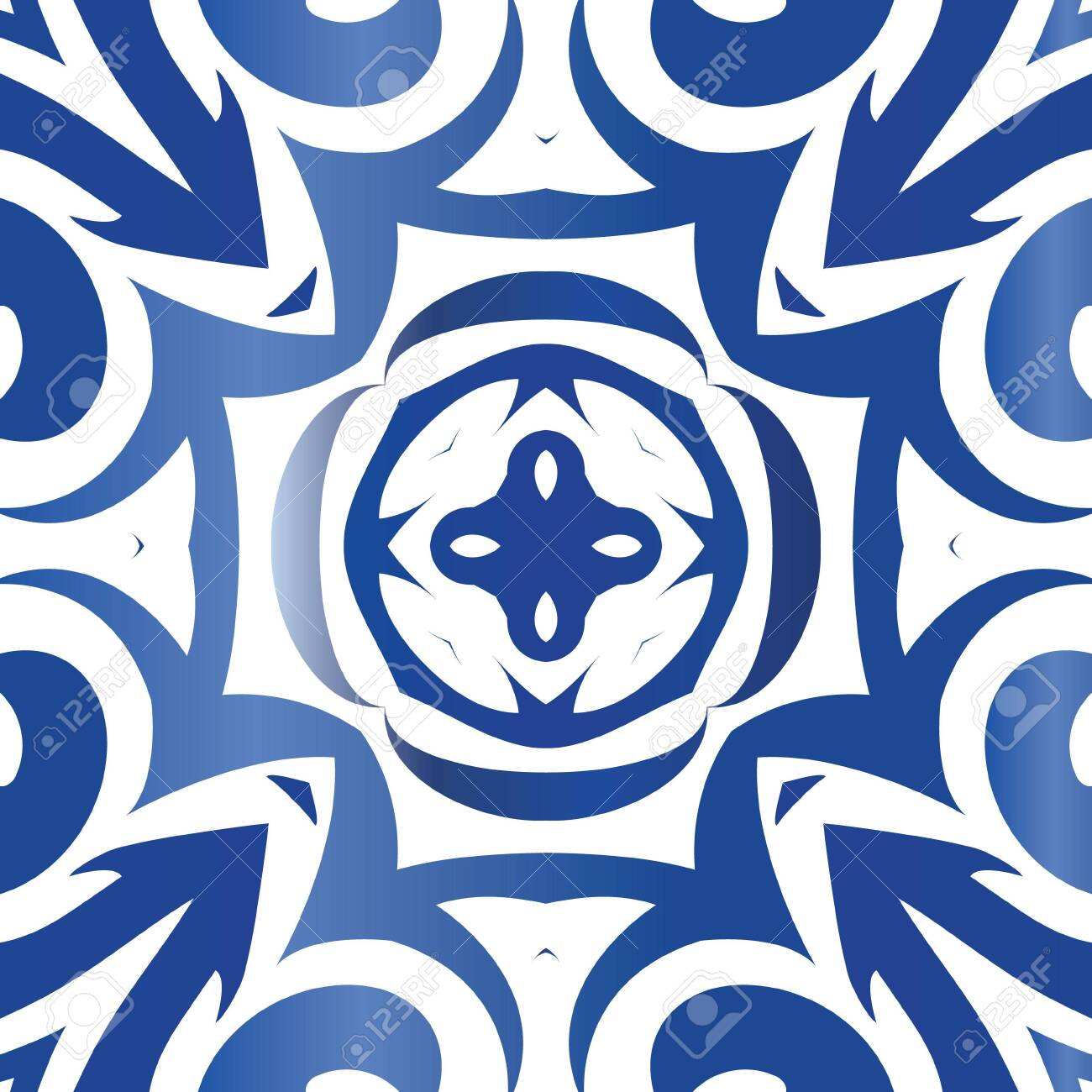 Ceramic tiles azulejo portugal. Vector seamless pattern texture. Colored design. Blue ethnic background for T-shirts, scrapbooking, linens, smartphone cases or bags. - 149476081