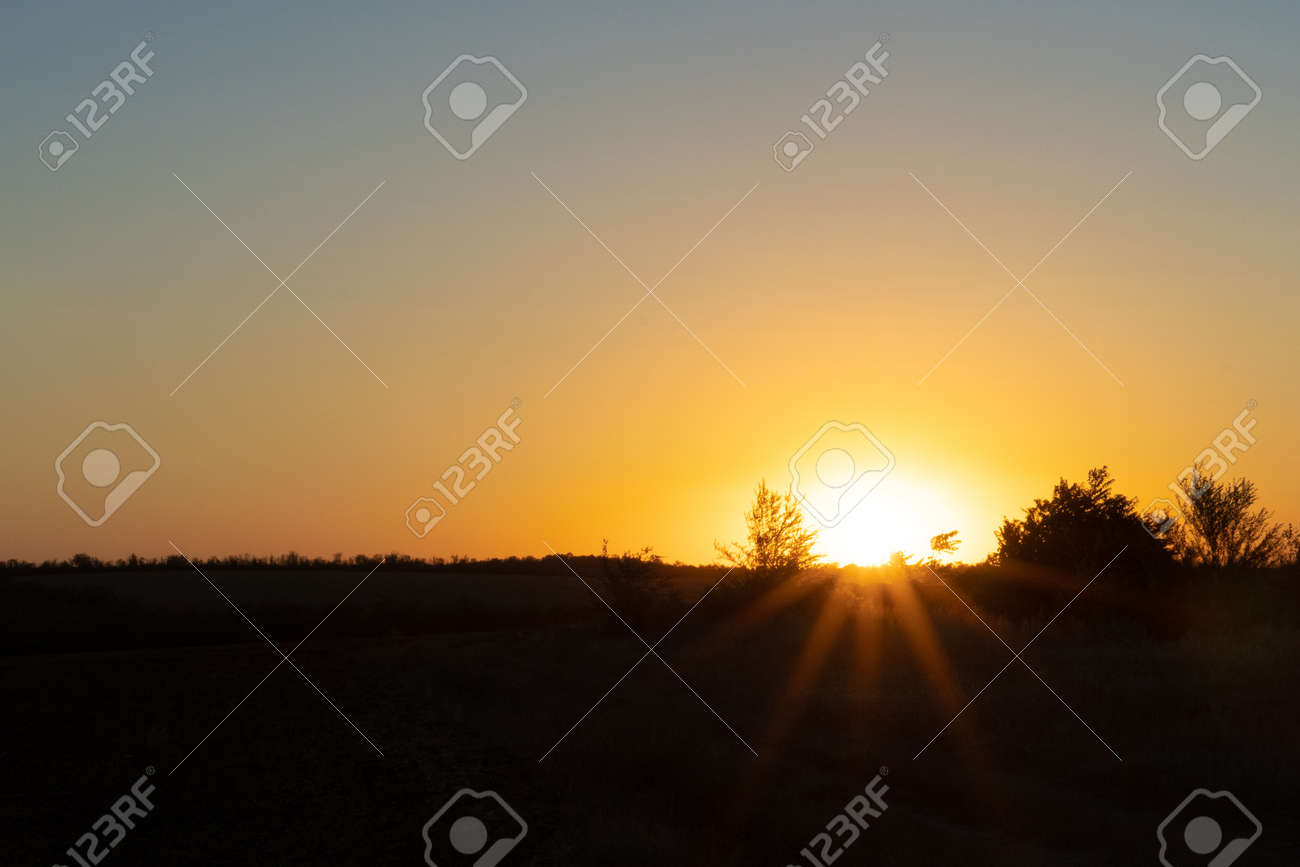 Natural sunset or sunrise over the field. Countryside - 155796825