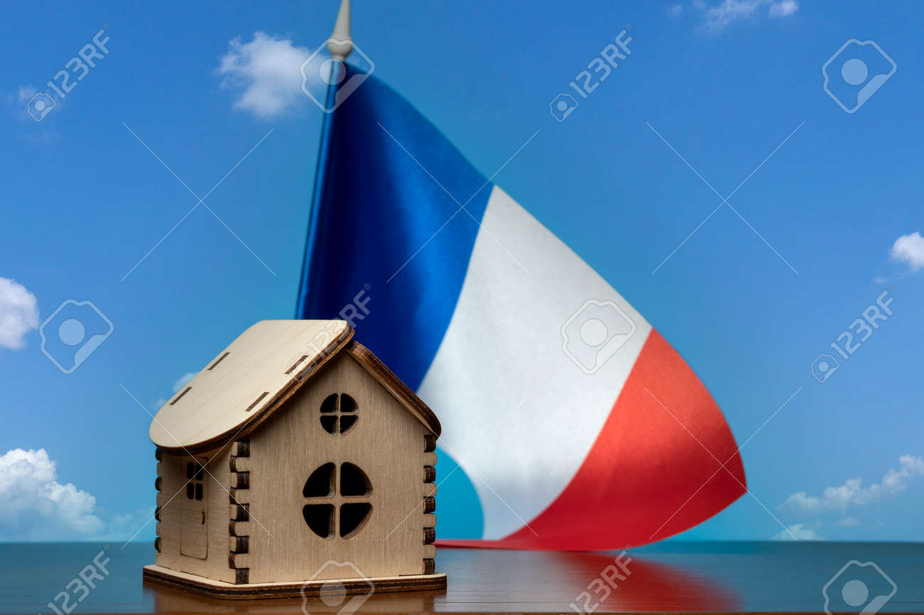 Small wooden house and France flag, sky on background. Real estate concept, copy space - 163114080