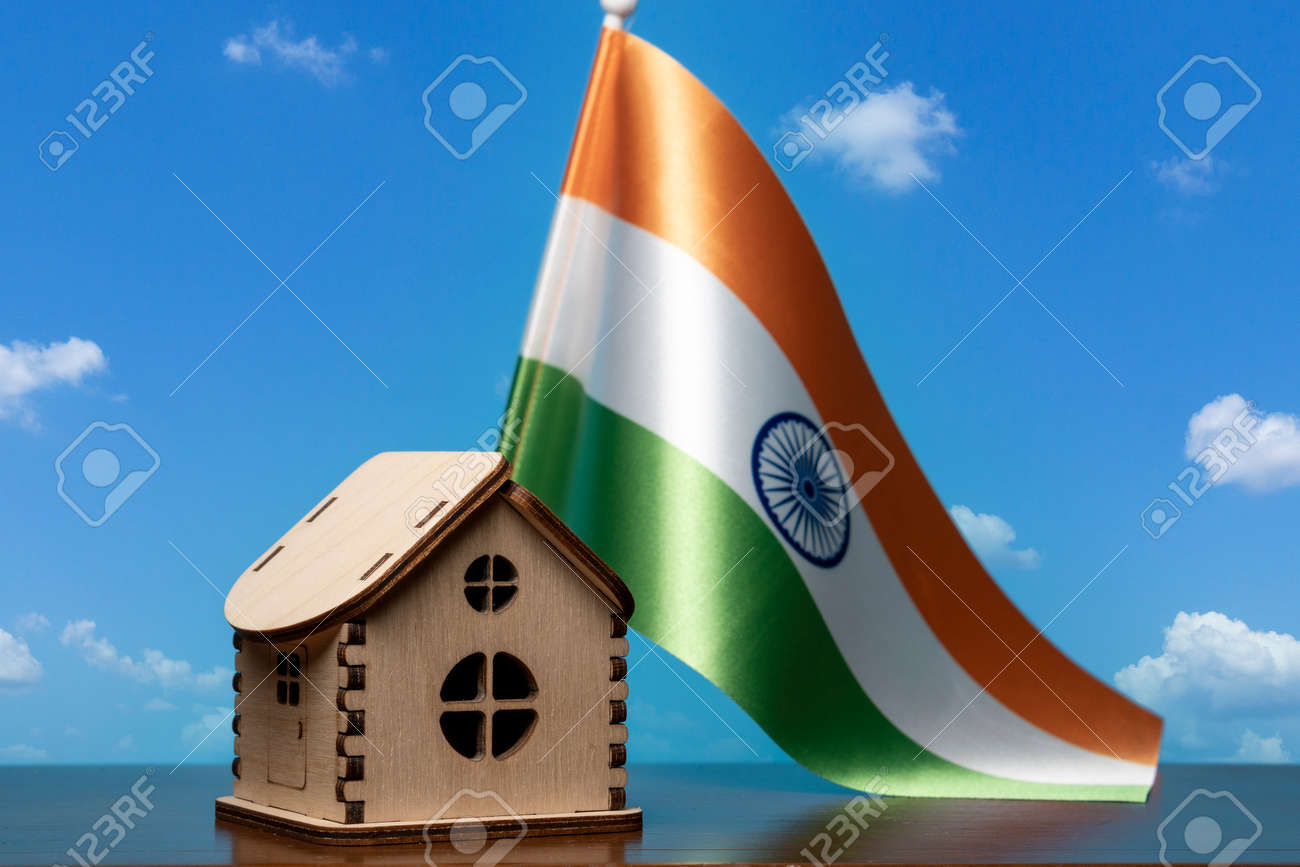 Small wooden house and India flag, sky on background. Real estate concept, copy space - 163114087