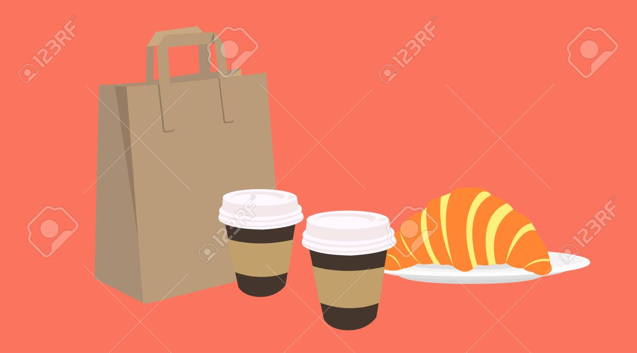 Vector Isolated Illustration of a Coffee Take Away Set, with a paper bag, two paper coffee cups and a croissant - 150020499