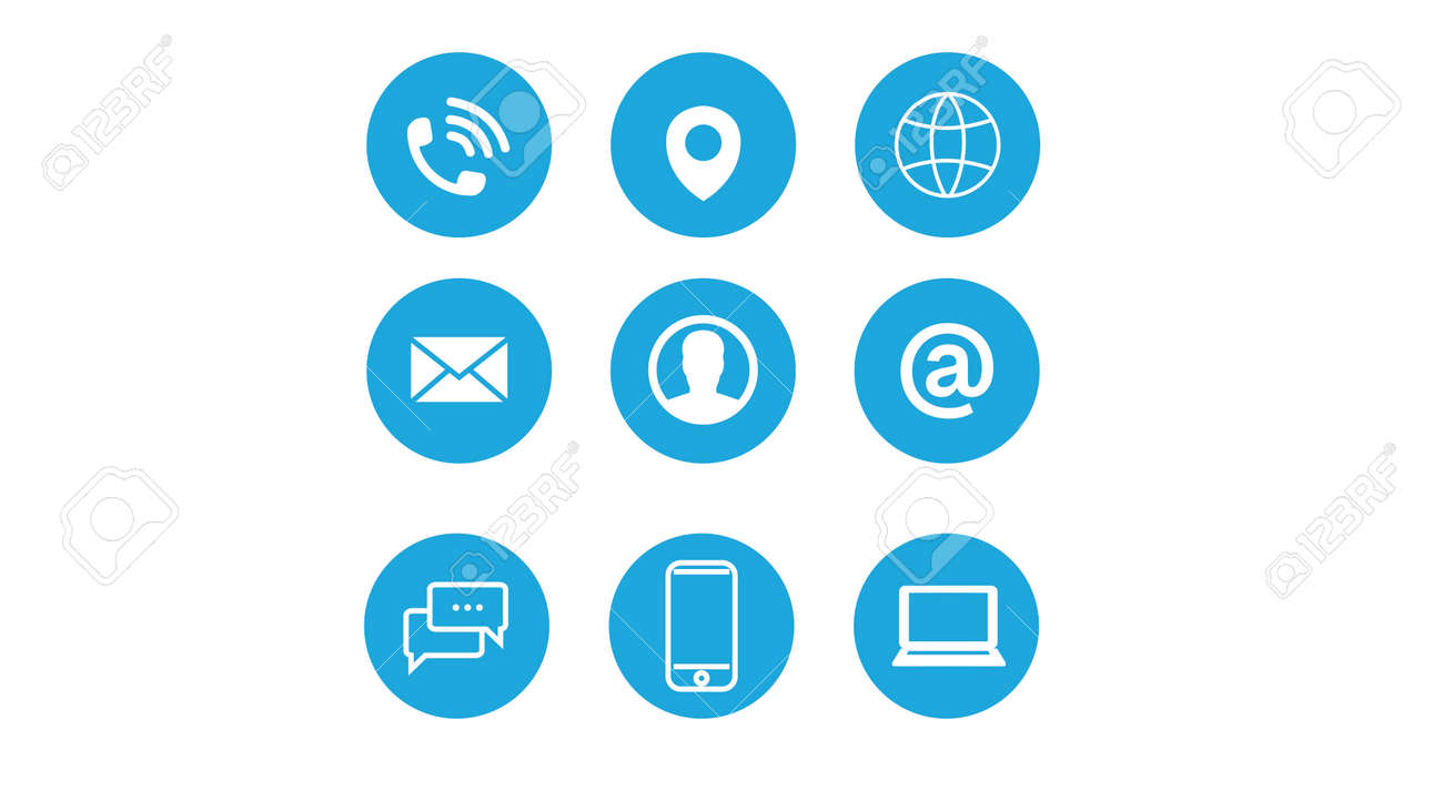 Contact Icon Set. Blue and White Illustration of Differente Contect icons - 169025901