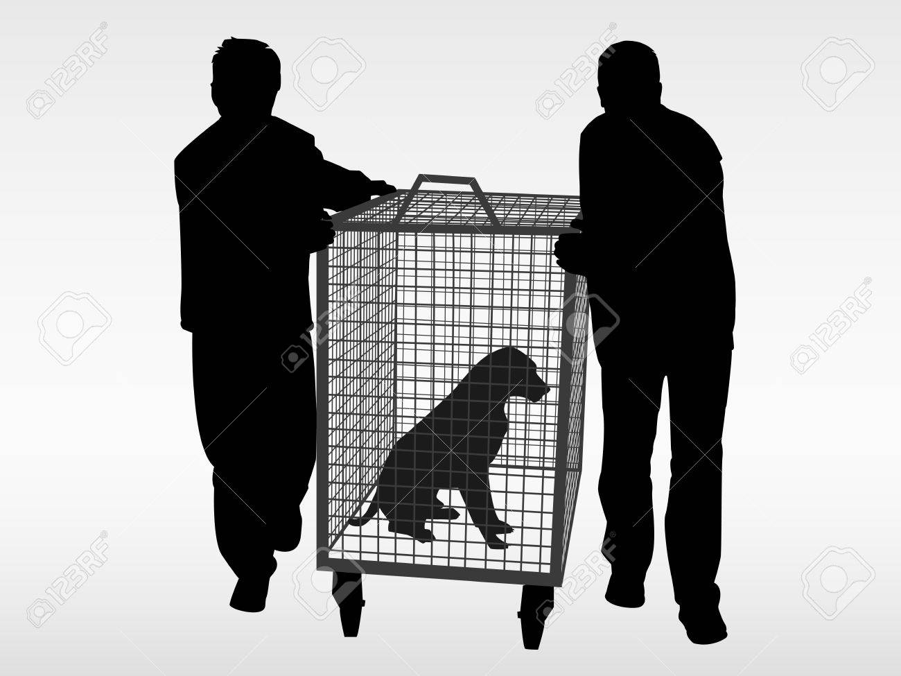 The dog catchers and the stray abandoned dog Stock Vector - 2706577