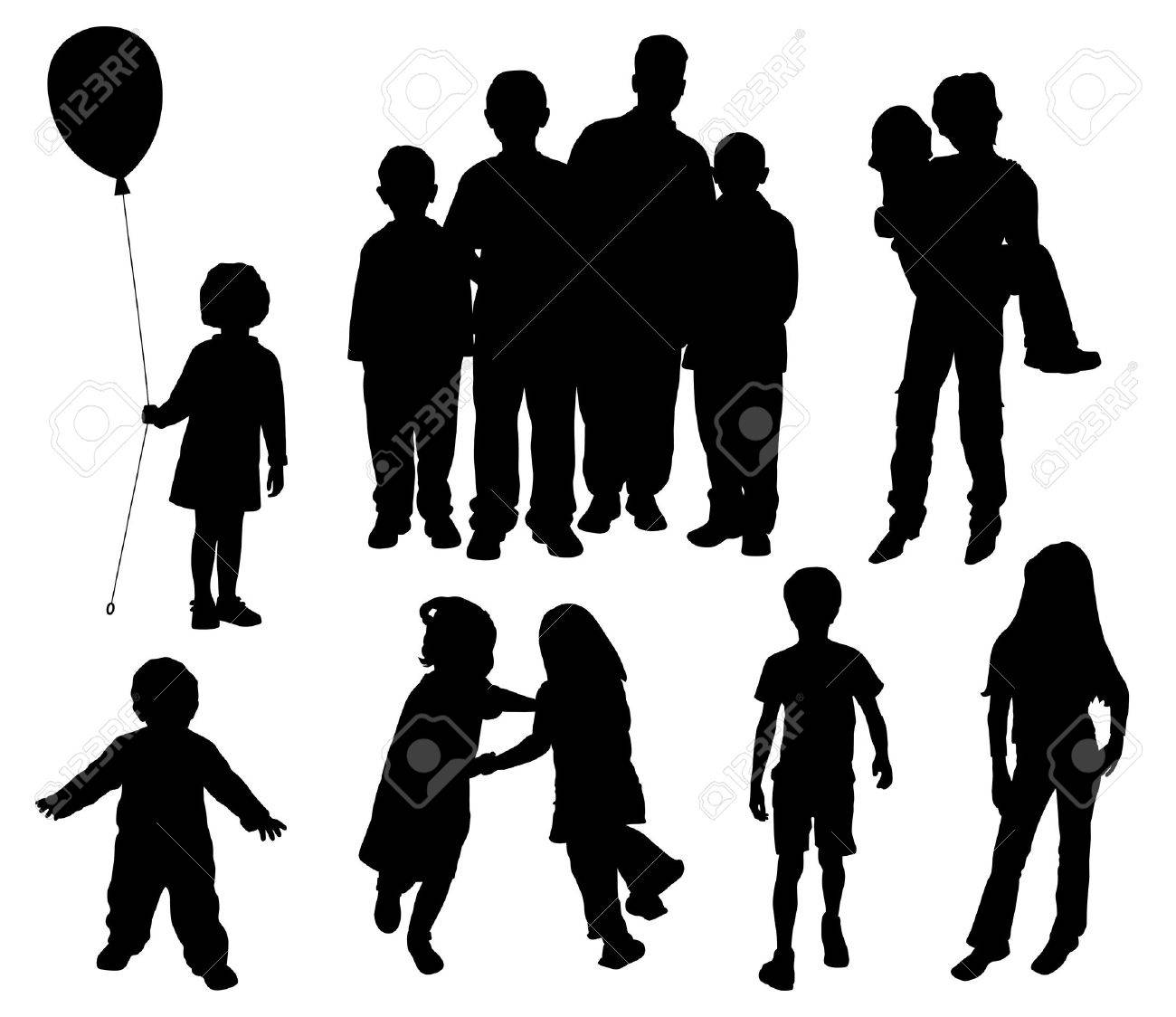 Children silhouettes Stock Vector - 4957713