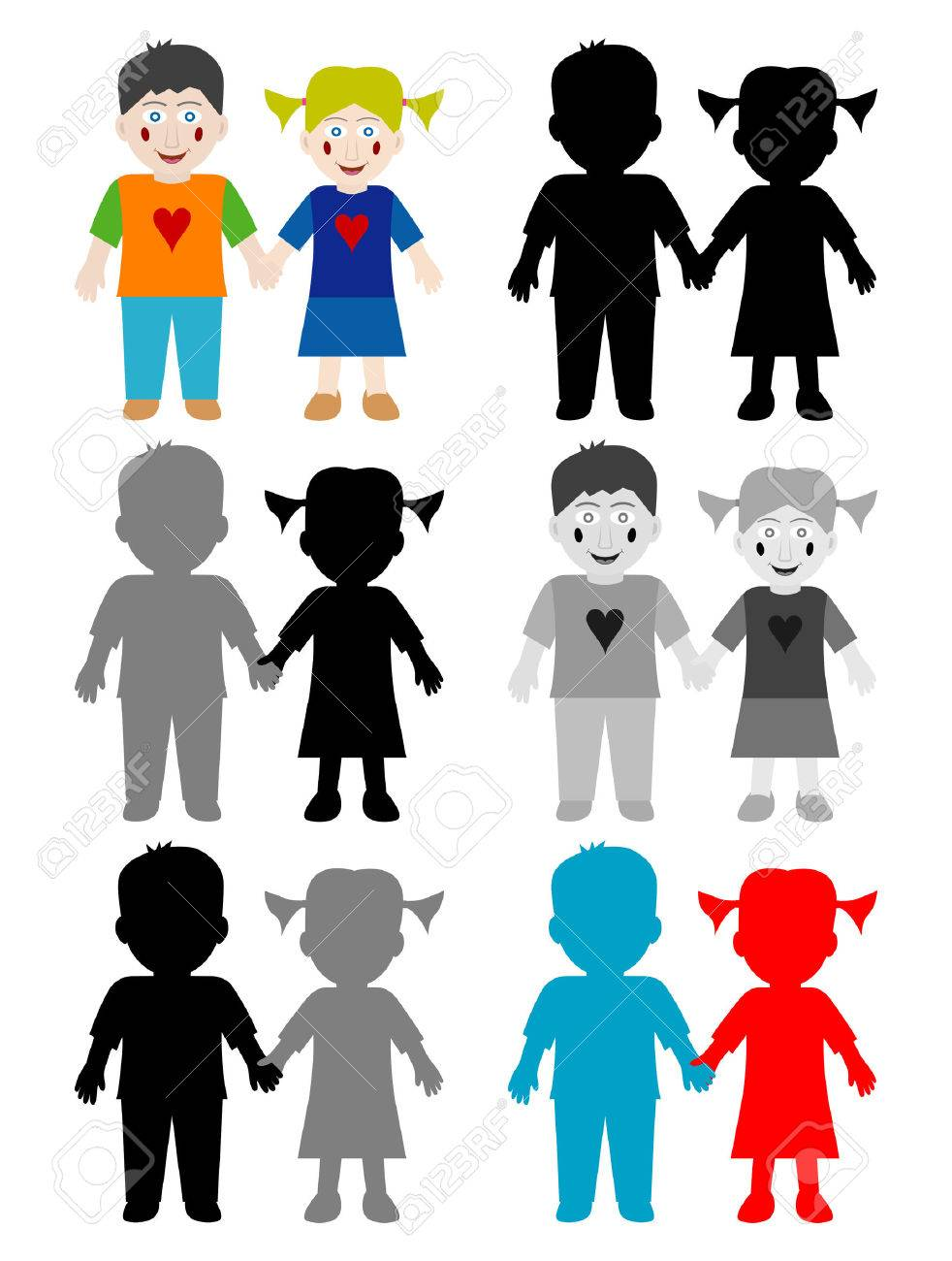 Color and black white happy kids Stock Vector - 5789759