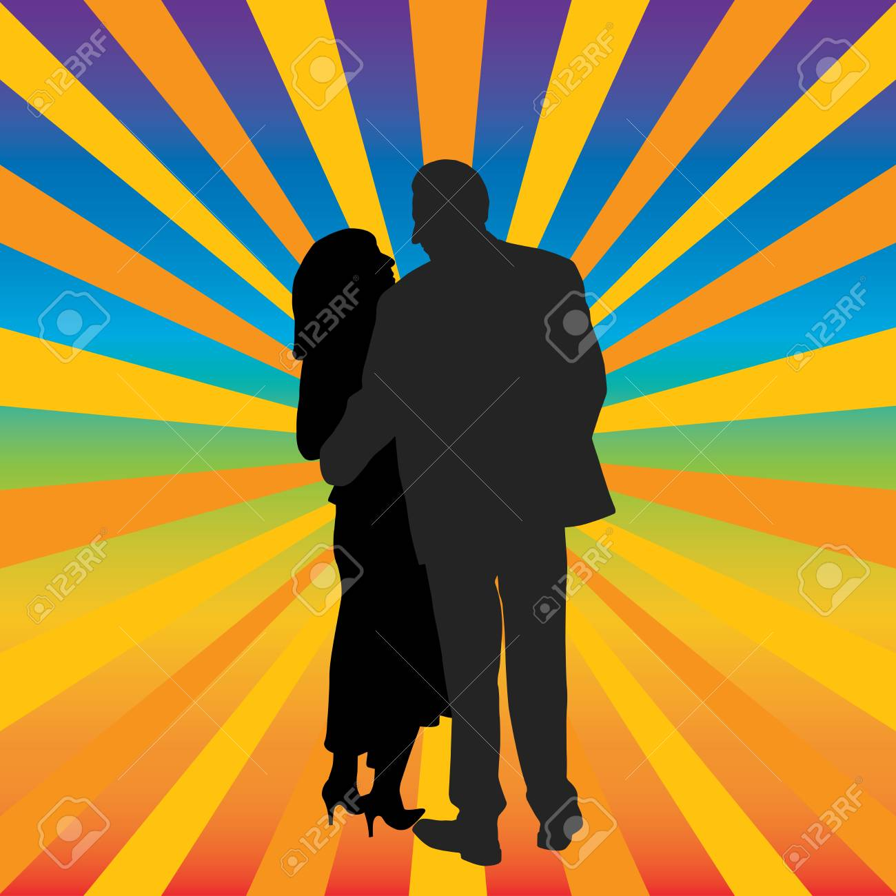Happy couple hugging Stock Vector - 16960466