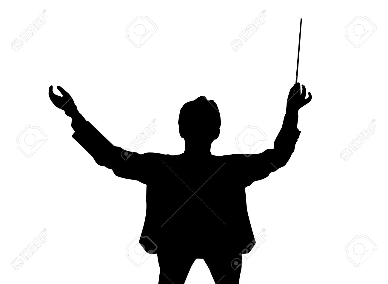Music conductor back from a bird's eye view - 66081153