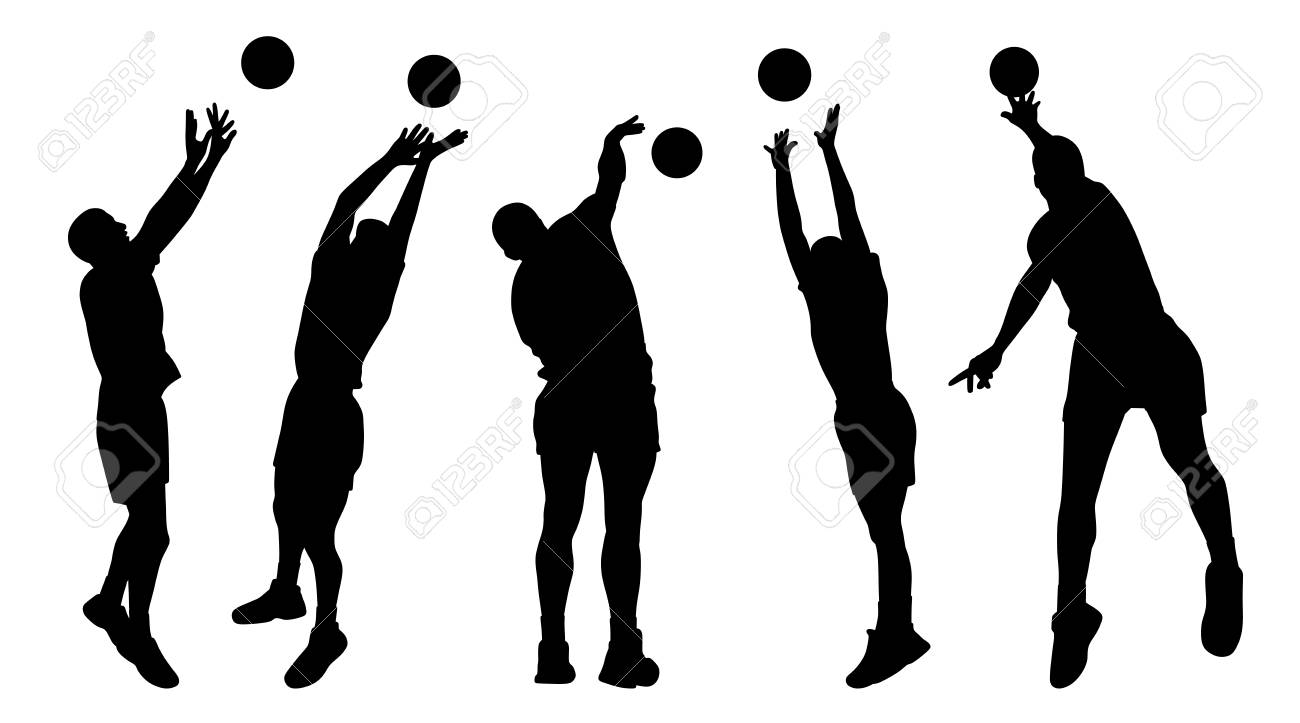 Men Volleyball Players Silhouette Royalty Free Cliparts Vectors And Stock Illustration Image 89324912