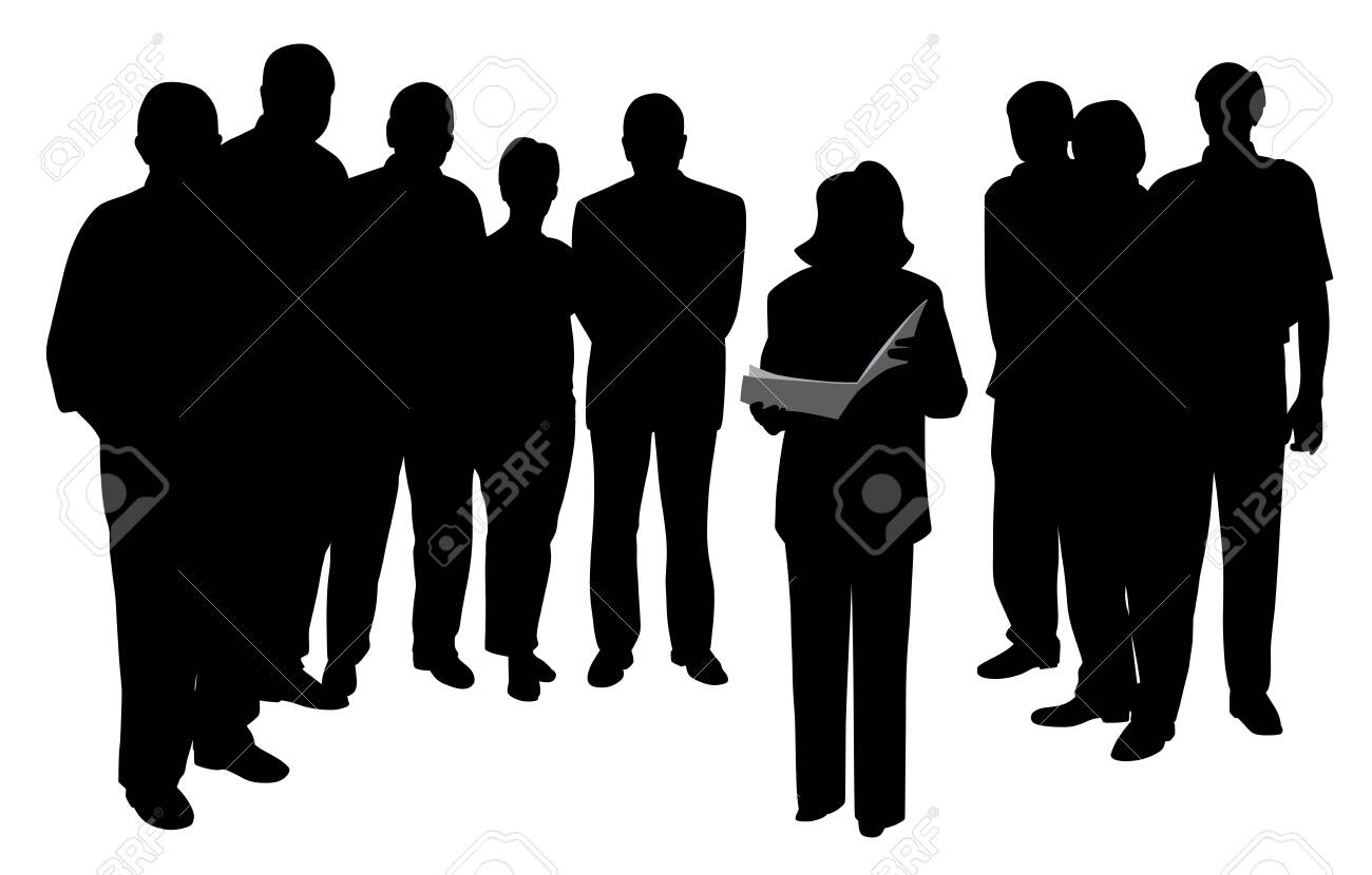 Illustration of a woman public speaking reading or giving a presentation in front of people group. Isolated white background. EPS file available. - 122457515