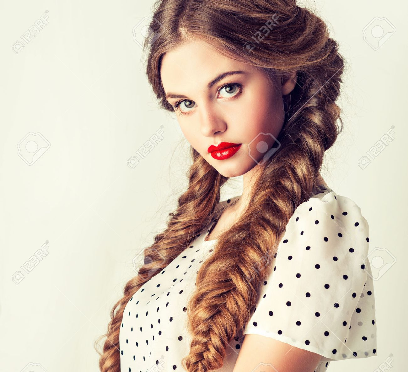 modern portrait of pretty girl with two pigtails Stock Photo - 38303771