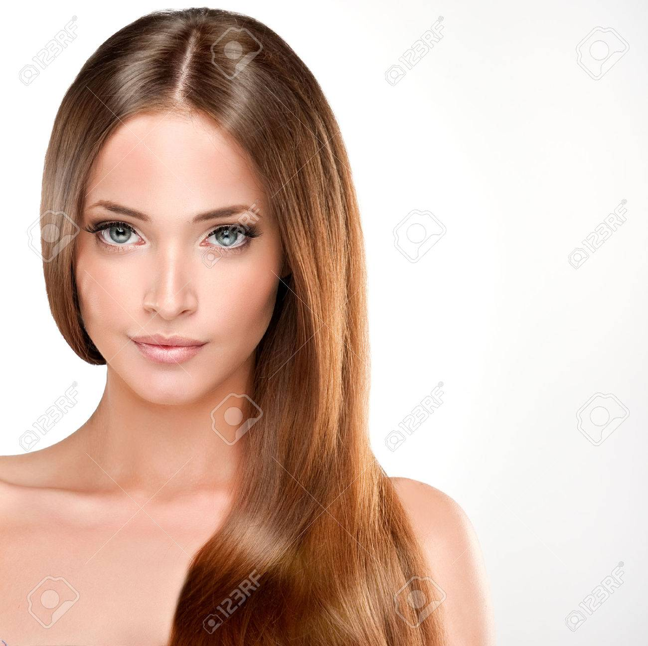 beautiful with brown hair long straight hair shine with