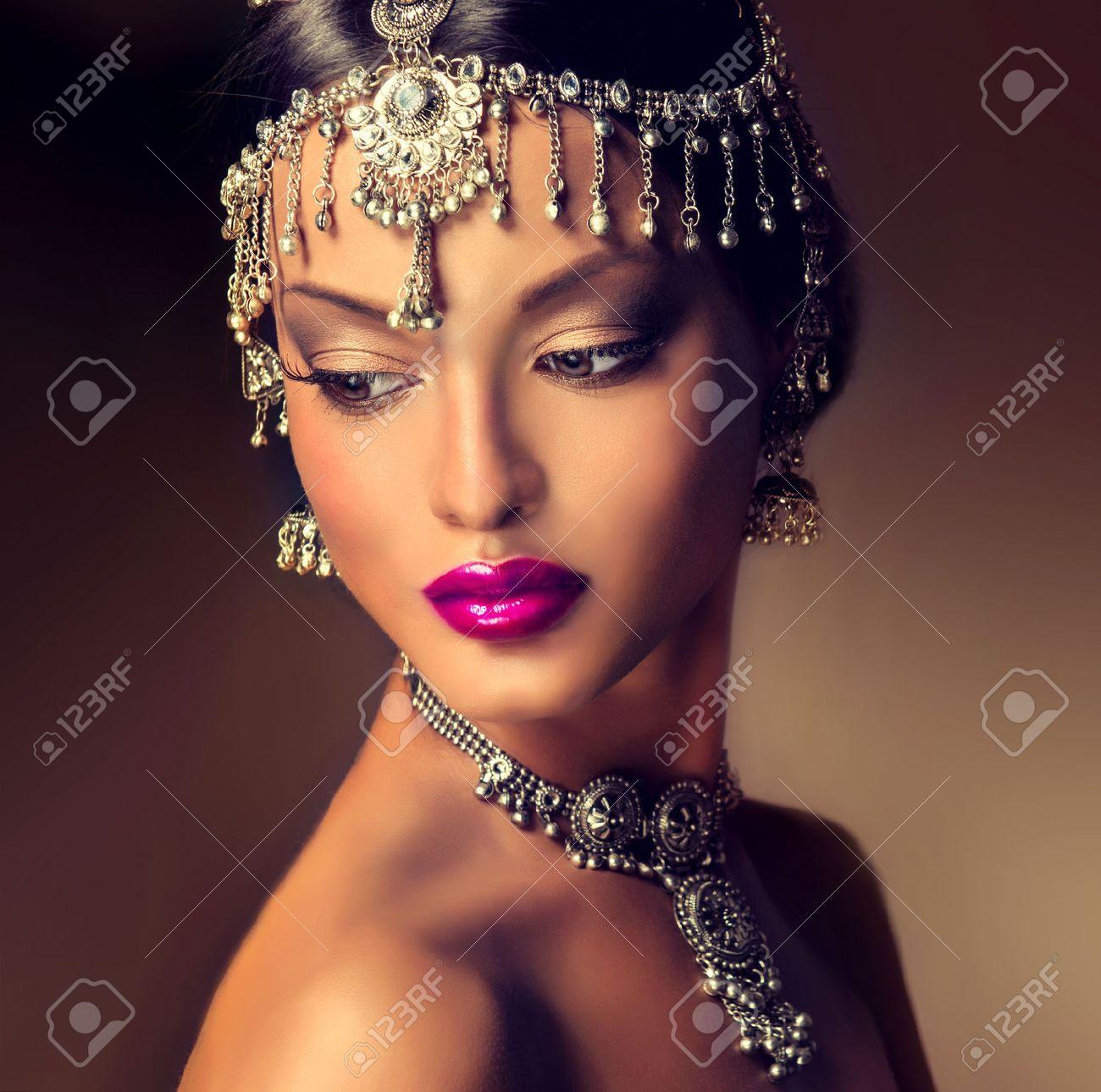 Beautiful Indian Women Portrait With Jewelry. Elegant Indian ...