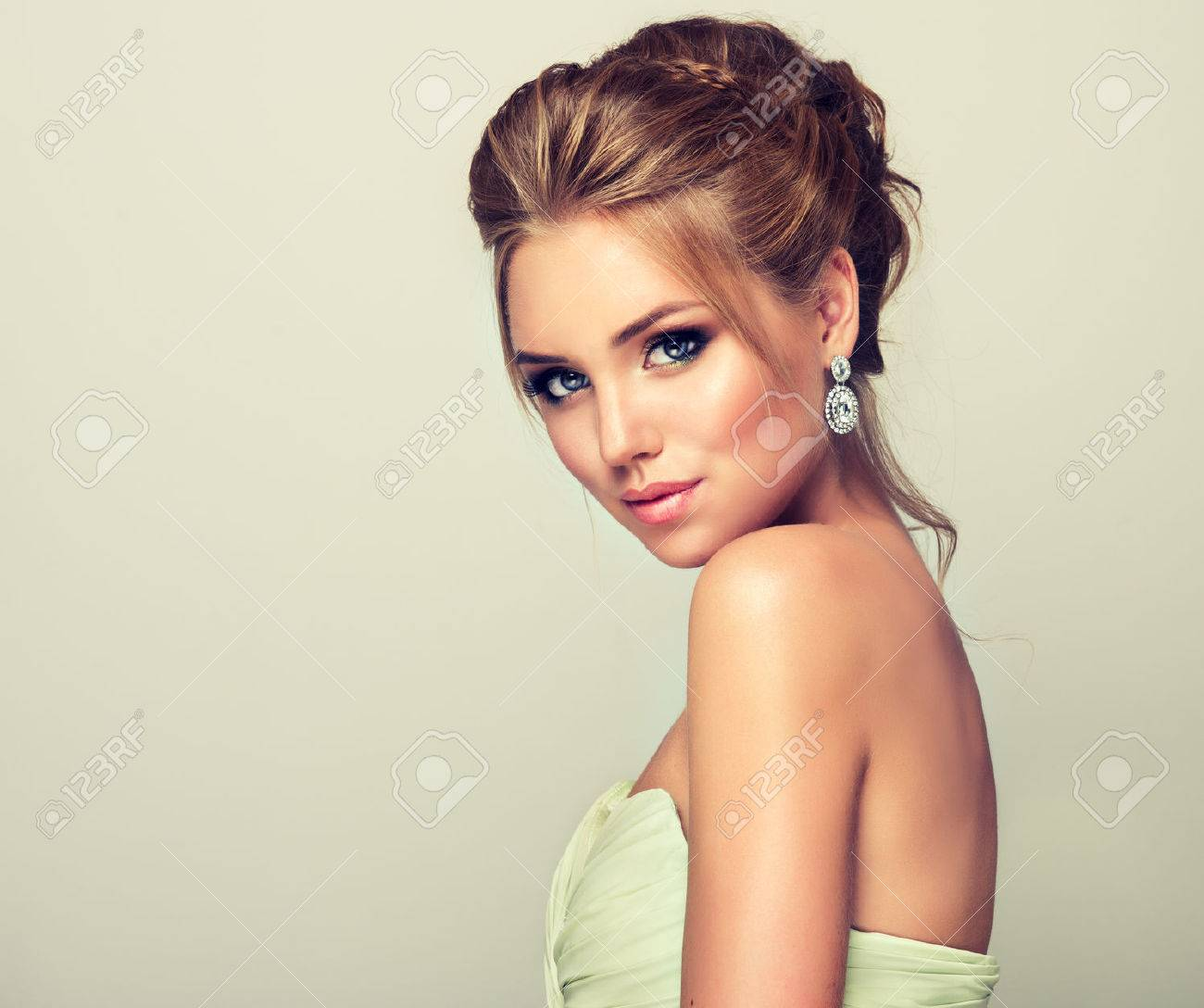 Young And Attractive Blond Model, Straight Look On Camera. Trendy ...