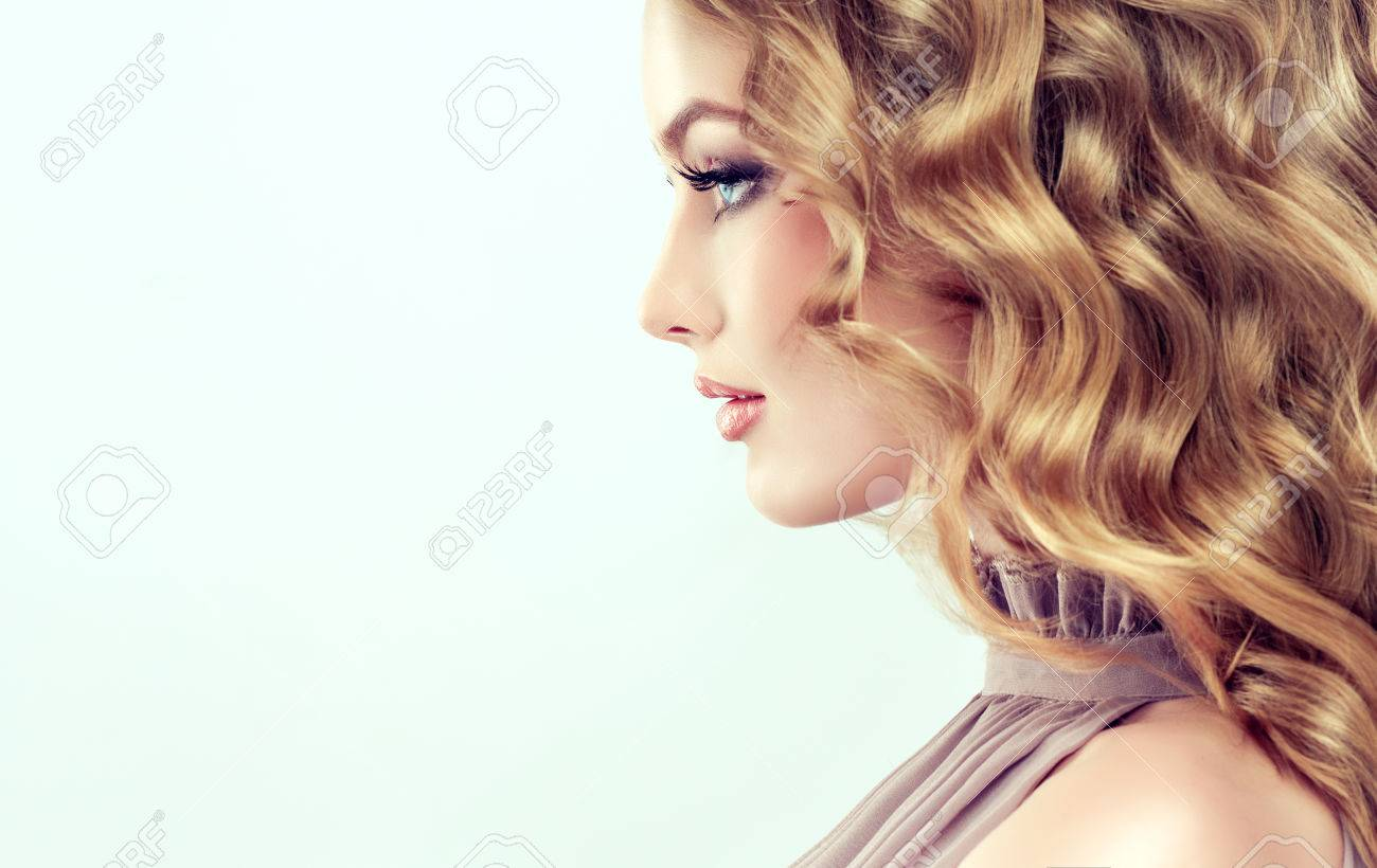 attractive woman blonde with elegant hairstyle example of middle