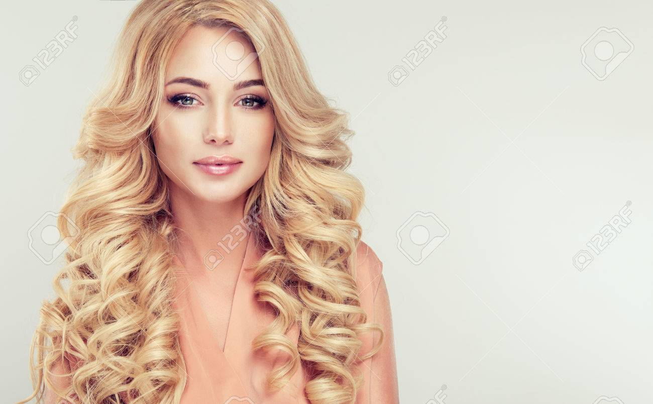 close up portrait of attractive blonde woman with elegant and