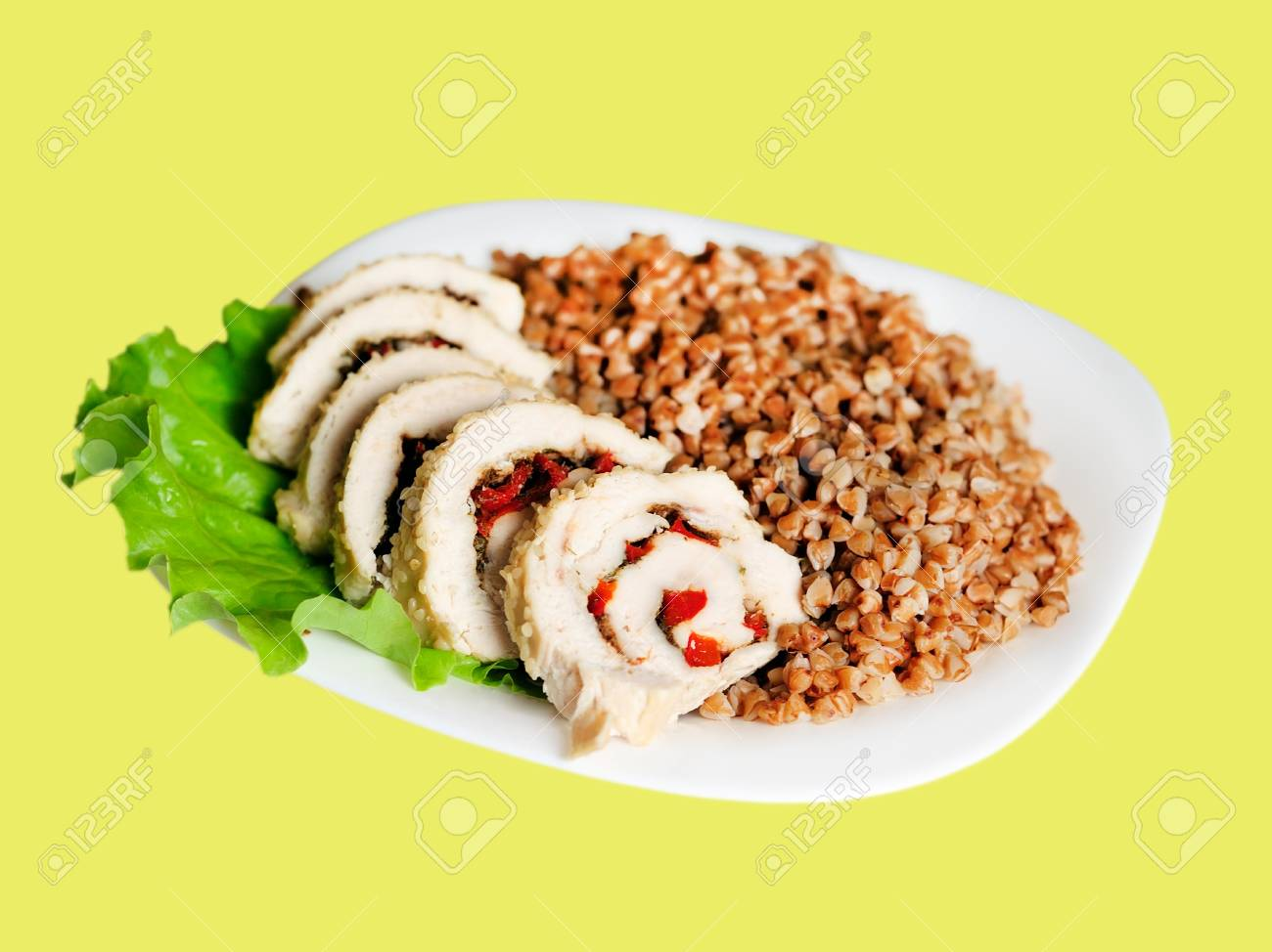 Meatloaf with buckwheat on plate Stock Photo - 14003449