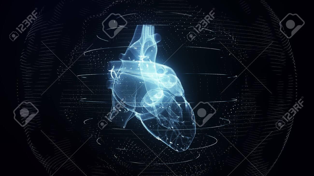 Anatomically correct blue digital human heart - 144437546