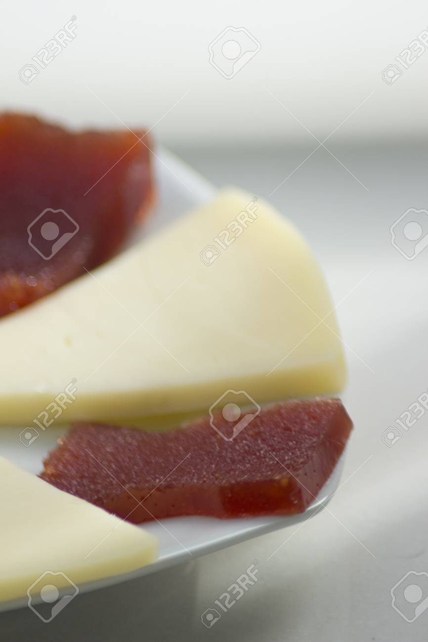 Quince jelly Spanish Membrillo and goat\u0027s cheese plate of Spanish cuisin tapas racion. Stock Photo & Quince Jelly Spanish Membrillo And Goat\u0027s Cheese Plate Of Spanish ...