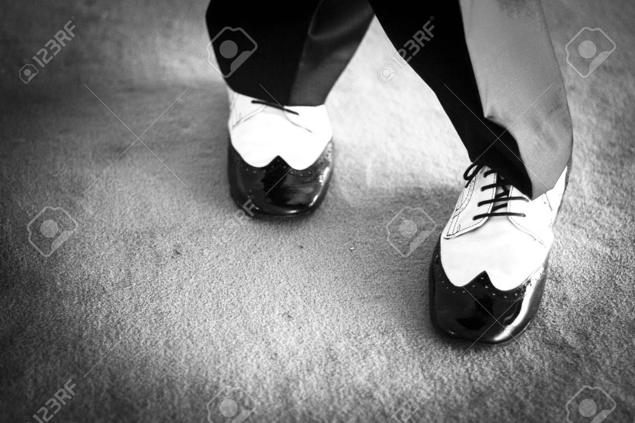 White Jazz Dancing Shoes.. Stock Photo