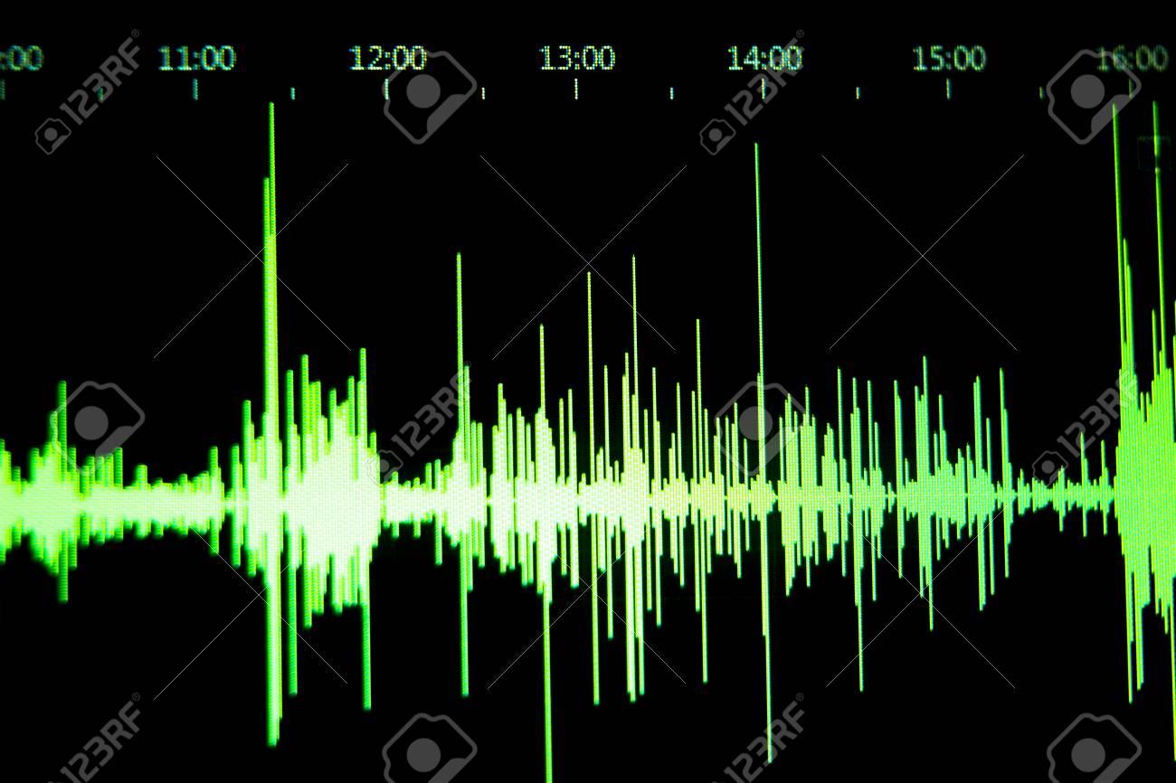 sound recording studio audio wave on computer screen in professional