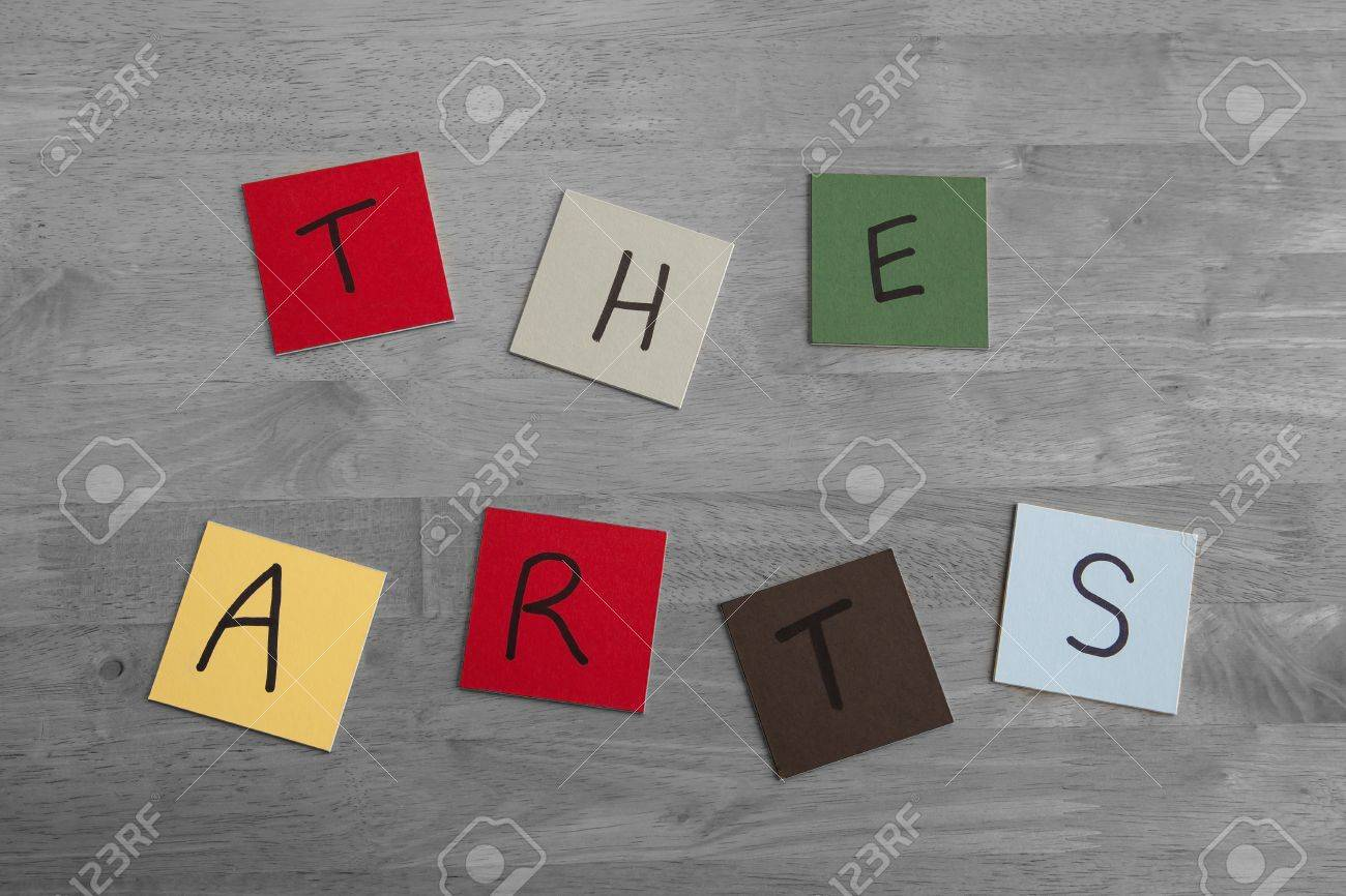 'The Arts' in letters and words on square color tiles - series on arts and craft designs. Stock Photo - 17453460