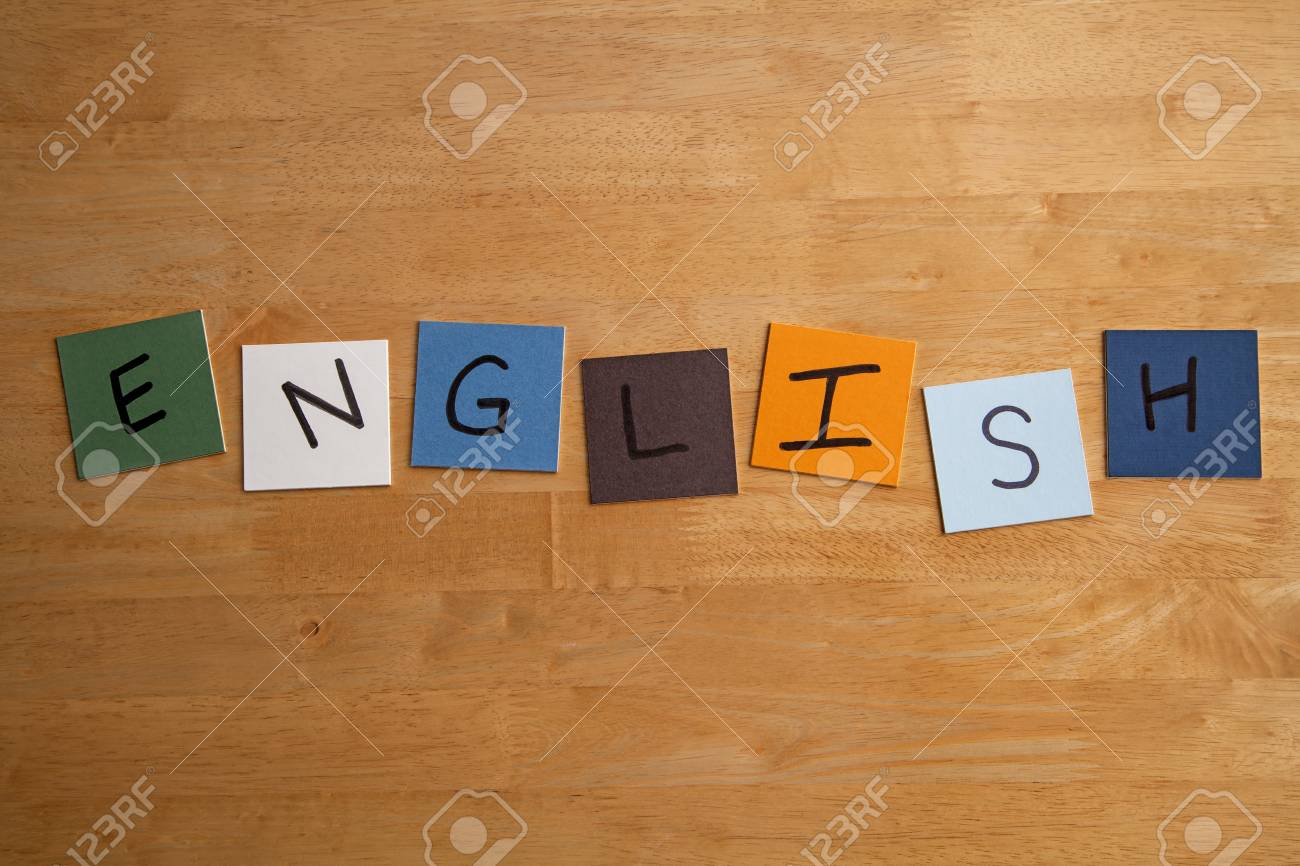ENGLISH  written on color tiles for Schools, Educational, Teaching, Editorial, College Stock Photo - 17501343