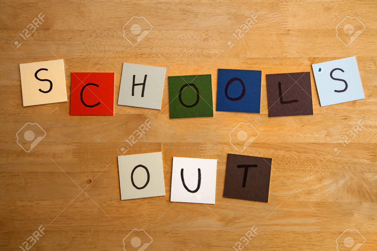SCHOOLS OUT - sign for education, editorial, teaching, schools Stock Photo - 17546952
