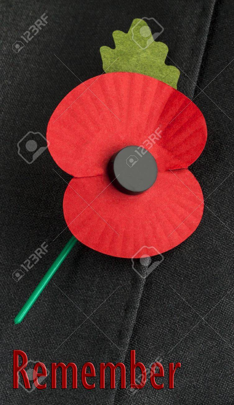 Poppy On Jacket Lapel For Poppy Day Or Remembrance Day Stock Photo