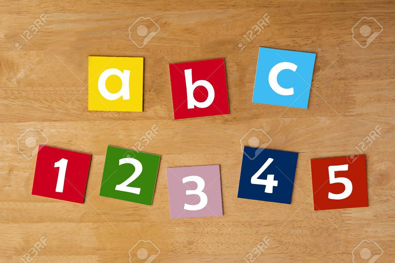 abc 12345 sign in lower case letters for children stock
