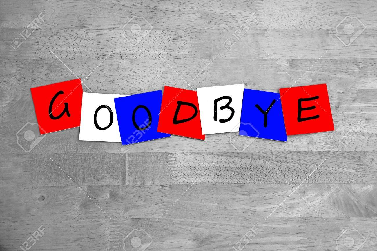 Goodbye  In Letters  Sign  Banner  Red White  Blue Stock