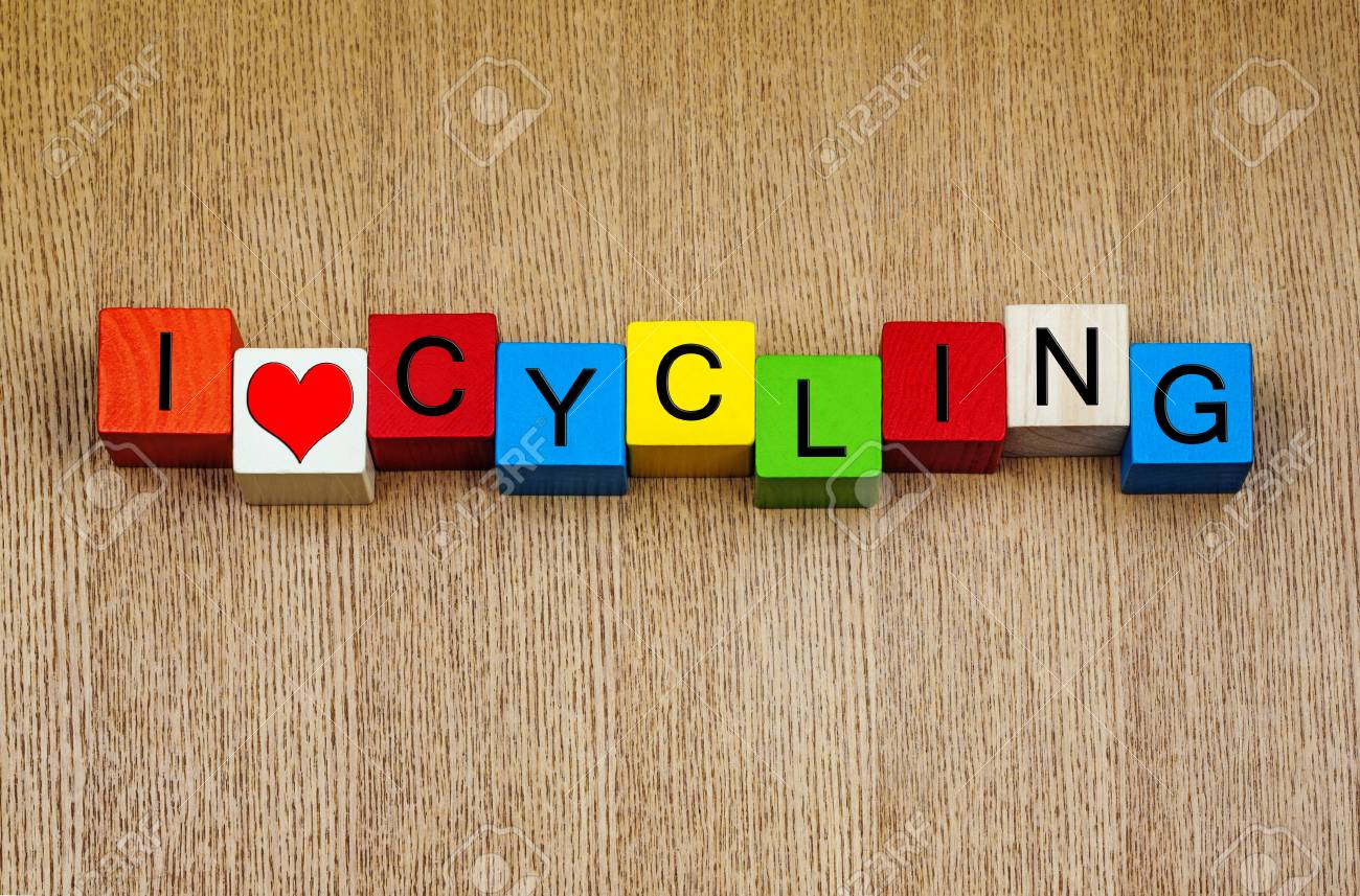 I Love Cycling Sign For Racing Cycling And Bicycles Stock Photo