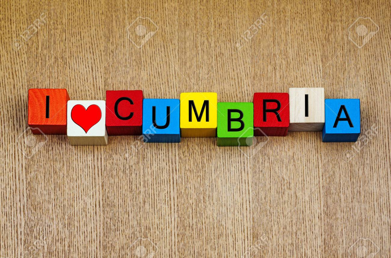 I Love Cumbria - English Lake District, sign series for travel locations Stock Photo - 24034225