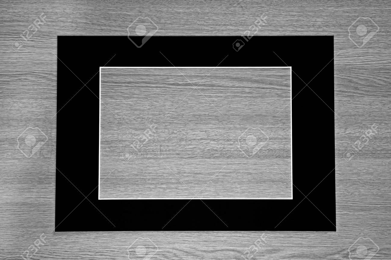 Empty Black Picture Frame / Mount On Gray Wooden Background. Stock ...
