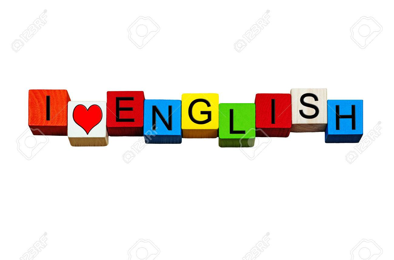 i love english sign banner or design for english language